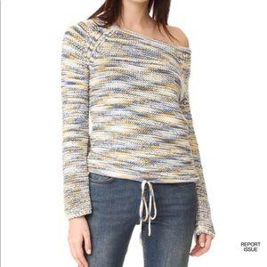 Theory Coella Soft Chain Cotton Sweater Denim Mix